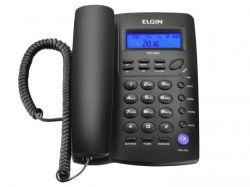 TELEFONE DE MESA C/FIO IDENT DE CHAMADA VIVA VOZ PRETO TCF 3000 ELGIN